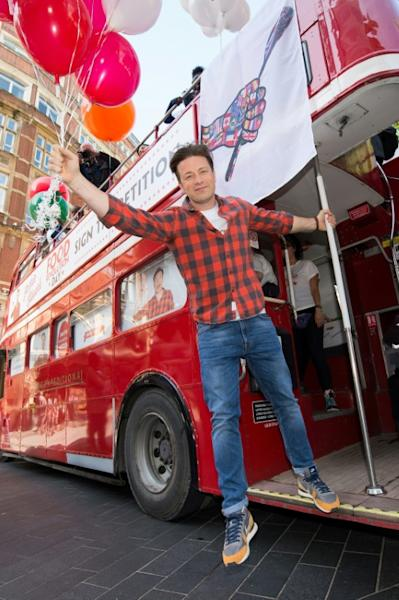 British chef and television personality Jamie Oliver promotes fresh, healthy and balanced meals for schools in the UK