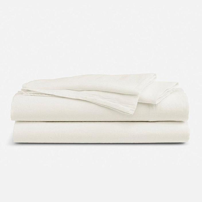 """<a href=""""https://www.glamour.com/gallery/linen-bed-sheets?mbid=synd_yahoo_rss"""" rel=""""nofollow noopener"""" target=""""_blank"""" data-ylk=""""slk:Linen bed sheets"""" class=""""link rapid-noclick-resp"""">Linen bed sheets</a> are a game changer for hot and cool sleepers, and though he may complain that they feel a little stiff at first, tell him not to worry: They get softer over time. $249, Brooklinen. <a href=""""https://www.brooklinen.com/products/linen-core-sheet-set?variant=43437481045"""" rel=""""nofollow noopener"""" target=""""_blank"""" data-ylk=""""slk:Get it now!"""" class=""""link rapid-noclick-resp"""">Get it now!</a>"""