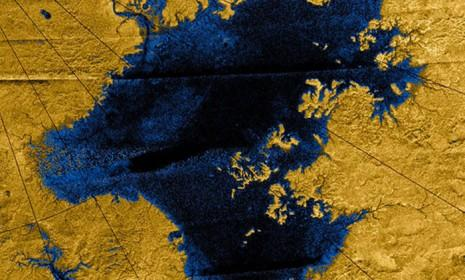 This image of a methane lake on Titan was captured by NASA's Cassini spacecraft.