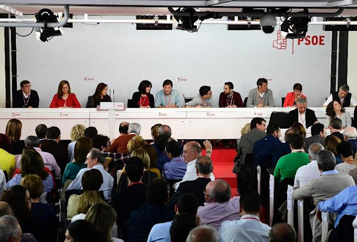 Spain's Socialists, pictured at an extraordinary meeting of the PSOE on October 23, 2016, say they want to see an end to political deadlock and have decided to vote against acting PM Mariana Rajoy in the upcoming vote (AFP Photo/Gerard Julien)