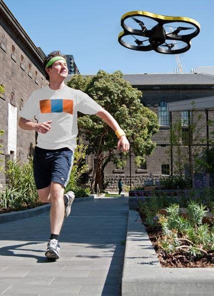 3. Jogging drone. Don't have the discipline to run by yourself, nor any friends to spur you on?Well, jog on… because Australian  inventors have developed a drone that will be running buddy and fly ahead of you. A camera on the Joggobot helicopter locks on to excercisers' T-shirts and they can control its pace via a smartphone app.