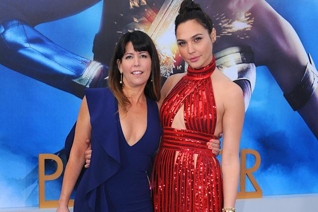 <em>Wonder Woman</em> director Patty Jenkins with star Gal Gadot.