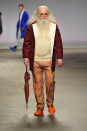 """<div class=""""caption-credit""""> Photo by: Victor VIRGILE/Gamma-Rapho via Getty Images</div>Santa as style muse: Agi & Sam's collection boasted more than one hairy model of a seasoned age. So apparently, beards are now only impressive if they're longer than two ZZ Tops combined. <br>"""