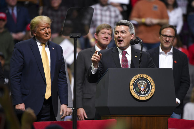 Sen. Cory Gardner (R-CO) speaks with President Donald Trump on stage during a Keep America Great rally on February 20, 2020 in Colorado Springs, Colorado. (Michael Ciaglo/Getty Images)