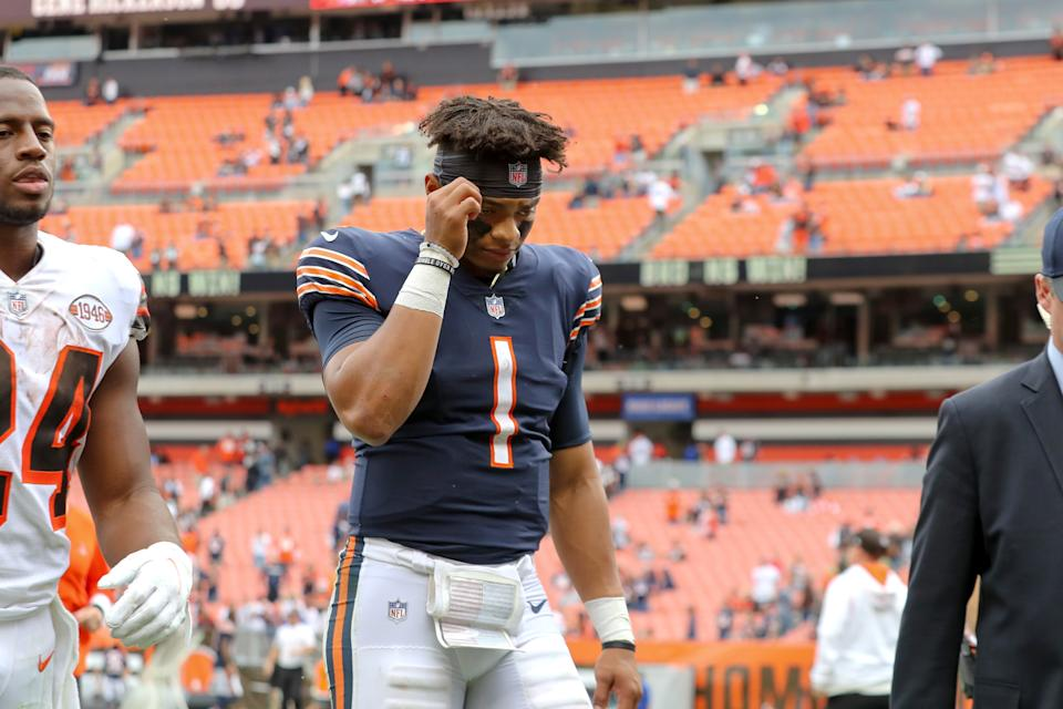 Chicago Bears quarterback Justin Fields (1) leaves the field after a loss to the Cleveland Browns on Sept. 26, 2021. (Frank Jansky/Icon Sportswire via Getty Images)