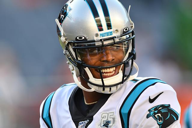 Aug 8, 2019; Chicago, IL, USA; Carolina Panthers quarterback Cam Newton (1) smiles during warmups before the game against the Chicago Bears at Soldier Field. Mandatory Credit: Matt Cashore-USA TODAY Sports