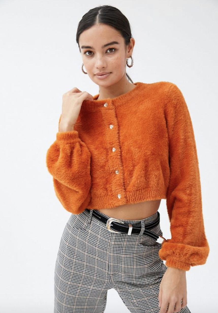 The For Love & Lemons Myriam Fuzzy Cardigan is 30 per cent off. Photo: UO