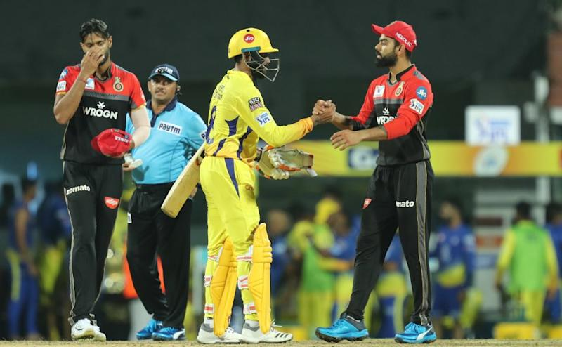Ravindra Jadeja of Chennai Super Kings celebrates win during match 1 of the Vivo Indian Premier League Season 12, 2019 between the Chennai Superkings and the Royal Challengers Bangalore held at the M. A. Chidambaram Stadium in Chennai, Tamil Nadu on the 23rd March 2019 Photo by: Prashant Bhoot /SPORTZPICS for IPL