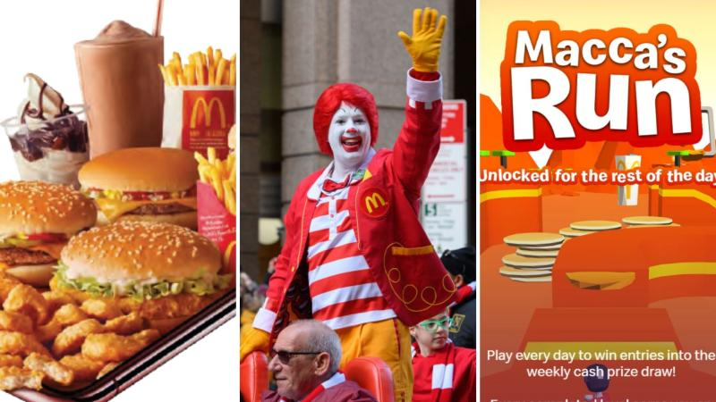 McDonald's food the left, Ronald McDonald waving in the centre and a screenshot of the Macca's Run game on the right.
