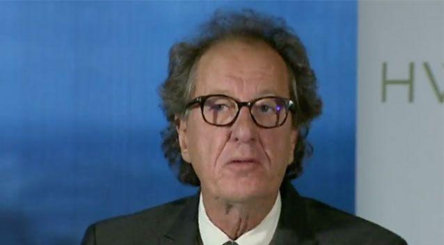 Geoffrey Rush addressed media in Melbourne on Friday. Source: 7 News