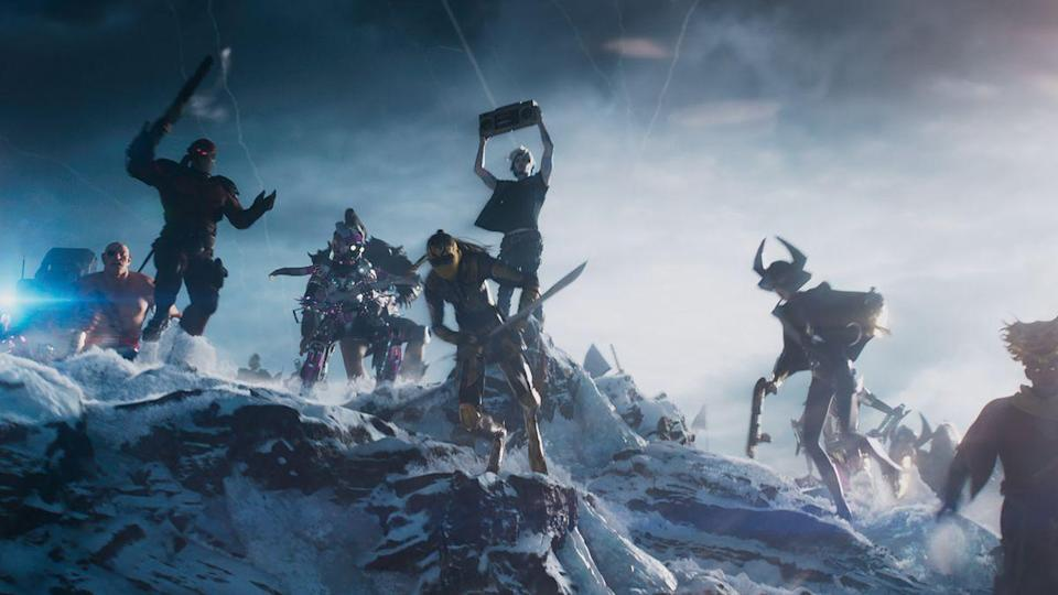 Wade strikes a familiar pose in rallying his troops to the fight. (Photo: Warner Bros.)