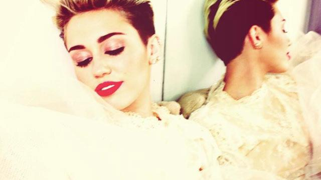 Miley Cyrus Poses in Wedding-Like Dress