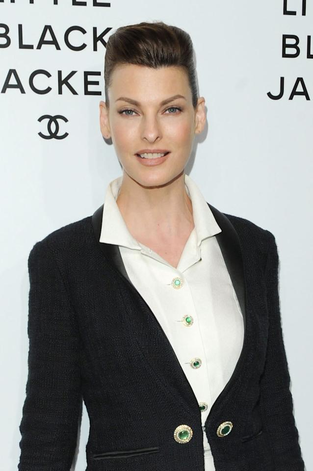 Linda Evangelista attends The Little Black Jacket: CHANEL's Classic Revisited By Karl Lagerfeld and Carine Roitfeld New York Exhibition Celebration at the Swiss Institute on June 6, 2012 in New York City.  (Photo by Craig Barritt/WireImage)