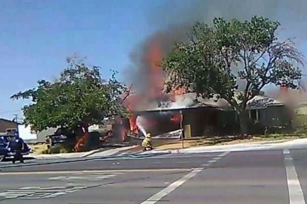 PHOTO: In this image taken from video provided by Ben Hood, a firefighter works to extinguish a fire, Thursday, July 4, 2019, following an earthquake in Ridgecrest, Calif. (Ben Hood via AP)