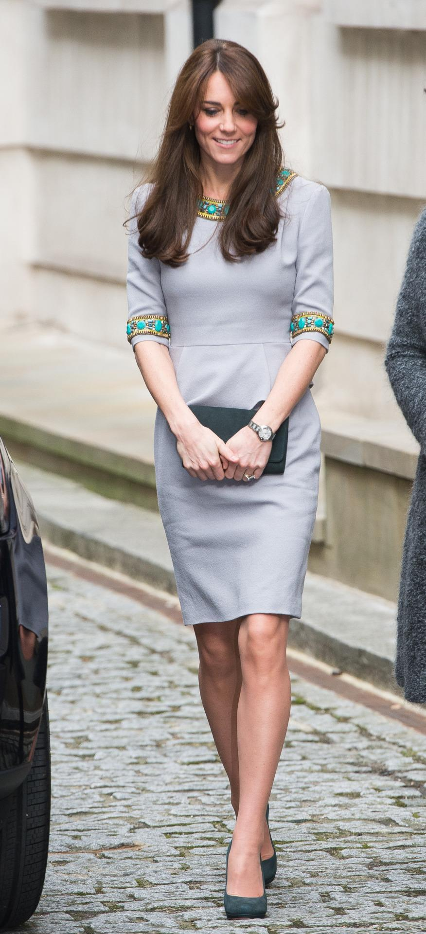 <p>Kate donned a beaded dress by Matthew Williamson for a conference in London. She paired the look with grey heels and a clutch by Emmy London. </p><p><i>[Photo: PA]</i></p>