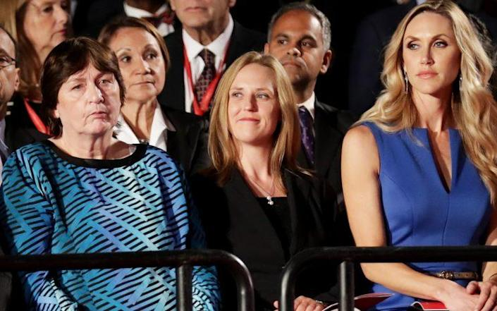 Candice Jackson, center, sits with Donald Trump's daughter-in-law Lara Trump, right, during the town hall debate on Oct. 9, 2016, in St Louis. (Photo: Chip Somodevilla/Getty Images)