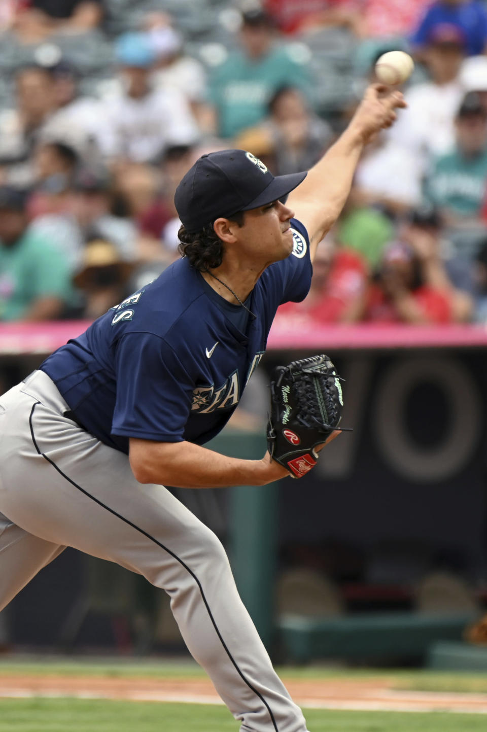 Seattle Mariners pitcher Marco Gonzales throws to home plate during the first inning of a baseball game against the Los Angeles Angels, Sunday, Sept. 26, 2021, in Anaheim, Calif. (AP Photo/Michael Owen Baker)