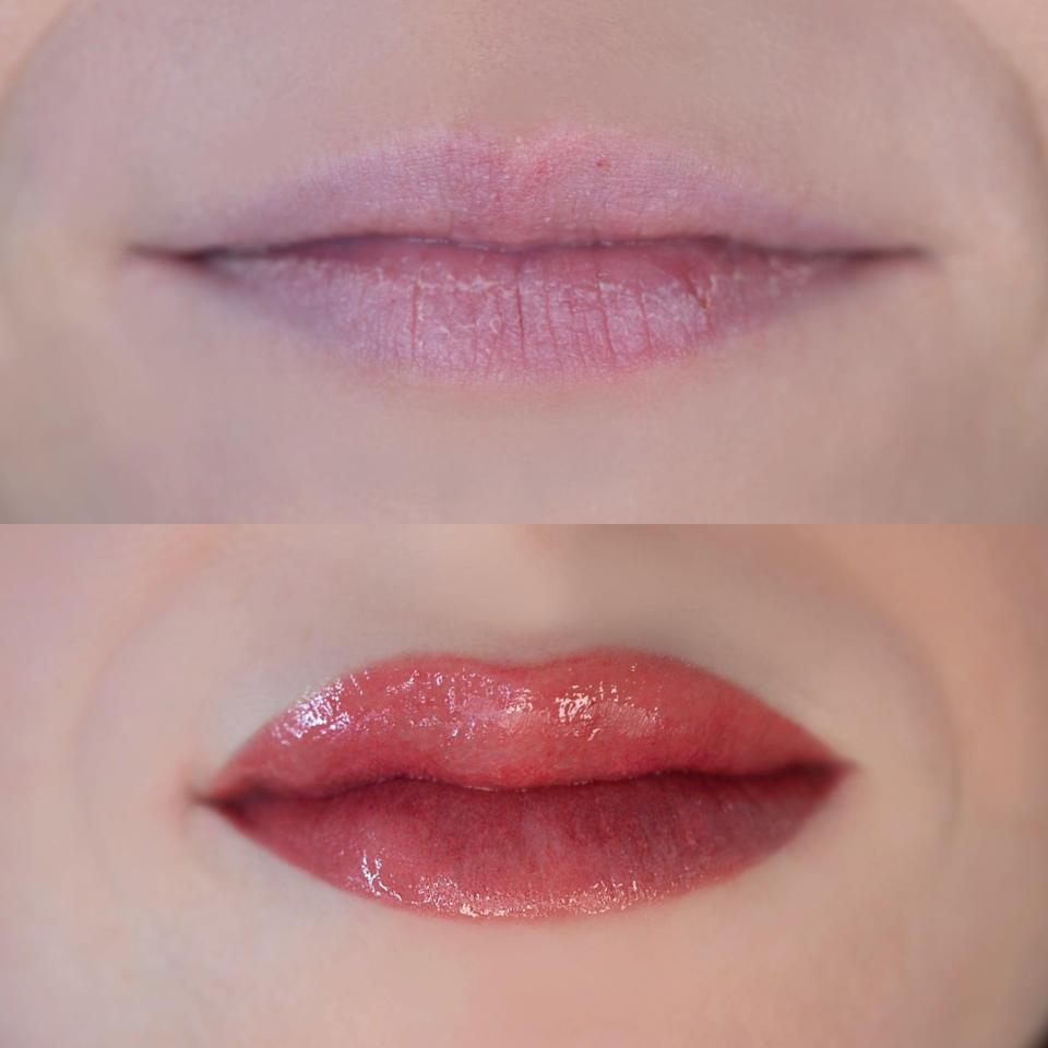 <p>The first photo is right before my lip blushing tattoo, featuring my extremely dry, flaky, pale lips that practically disappear into my fair skin. The second photo is after the 2.5-hour tattooing session. Immediately after, my lips were super swollen, and felt numb for a few hours. I went straight home and decided to avoid looking in the mirror for the remainder of the day, put an ice pack on my lips, and applied Aquaphor as directed. By the next day, the swelling had almost completely disappeared and I was so excited to see the color come to life.</p>