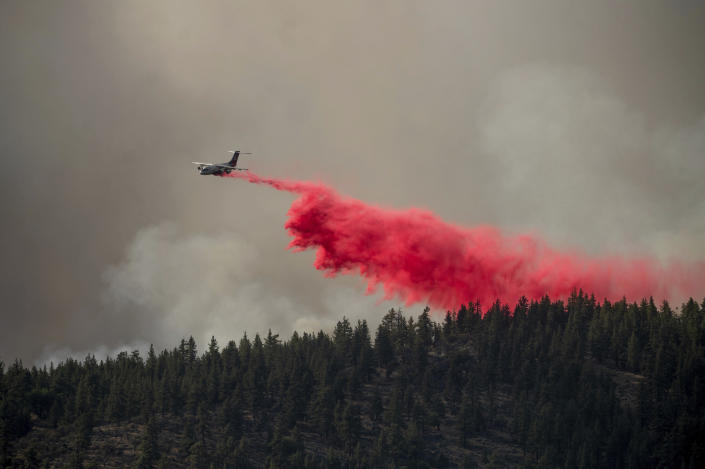 An air tanker drops retardant to keep the Sugar Fire, part of the Beckwourth Complex Fire, from reaching the Beckwourth community of unincorporated Plumas County, Calif., on Friday, July 9, 2021. (AP Photo/Noah Berger)