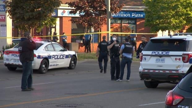 The shooting left a man, 25, dead and four other people injured. They are now listed in stable condition in hospital. (Jeremy Cohn/CBC - image credit)