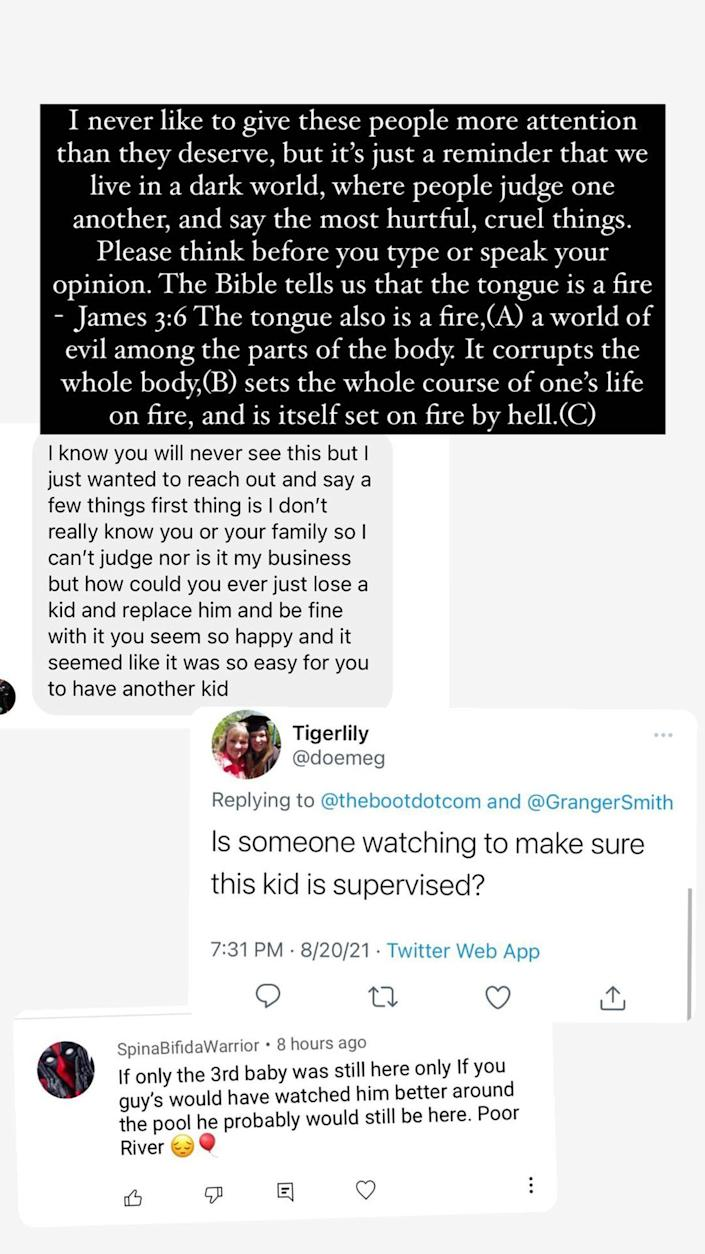 Amber Smith has some words for people who've made insensitive comments about her and late son River. (amberemilysmith / Instagram)