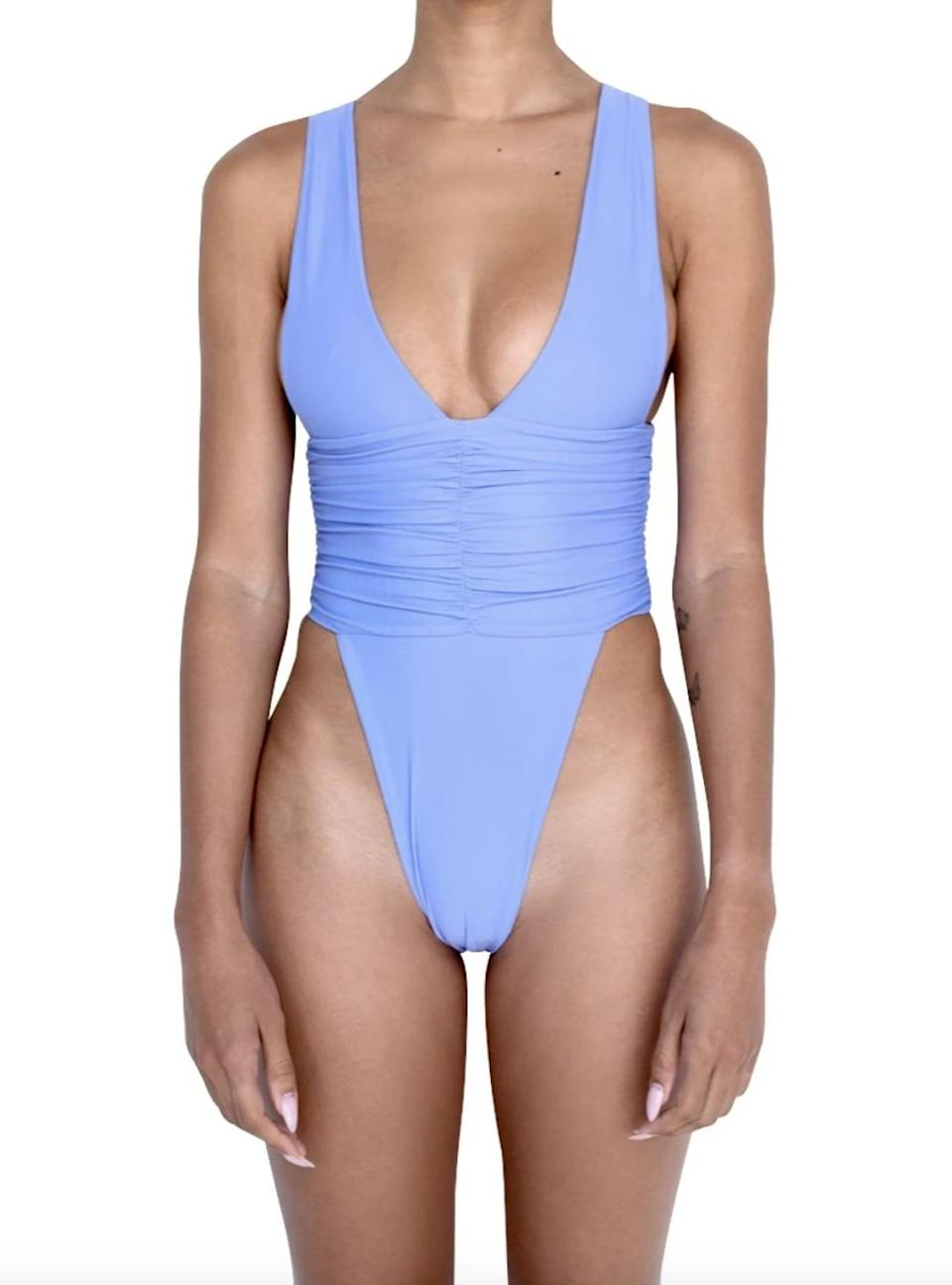 <p>This lavender<span>Riot Swim Echo One-Piece</span> ($96) is a formfitting and flattering.</p>