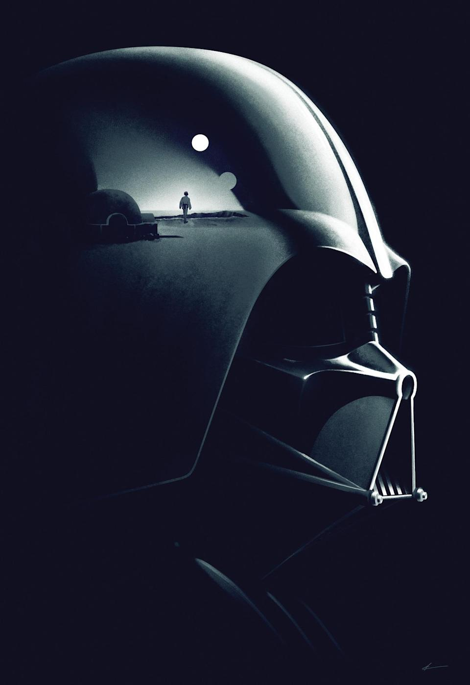 """<p>This marks the world premiere of """"Legacy,"""" one of four new works commissioned for the """"Star Wars Art: A Poster Collection."""" Designed by the Phantom City studio, father and son collide as Vader's helmet reflects the classic """"A New Hope"""" image of Luke watching Tatooine's twin suns set.</p>"""