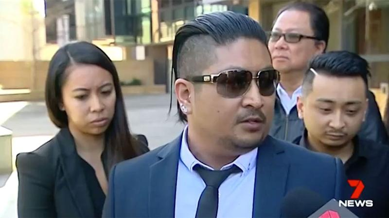 Heartbroken son, Sancho, spoke outside court about the loss of his mother. Source: 7 News