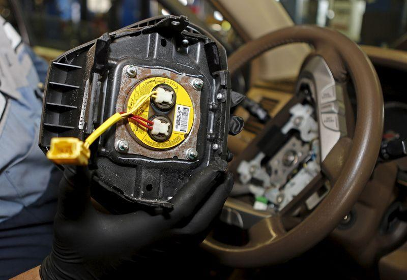 A recalled Takata airbag inflator removed it from a Honda Pilot at the AutoNation Honda dealership service department in Miami Florida