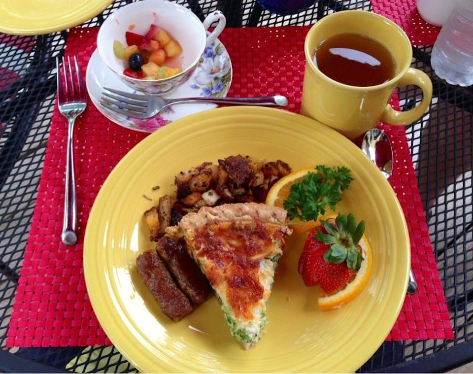"""<p><a href=""""https://www.tripadvisor.com/Hotel_Review-g53315-d81566-Reviews-Pineapple_Hill_Inn_Bed_Breakfast-New_Hope_Pennsylvania.html"""" rel=""""nofollow noopener"""" target=""""_blank"""" data-ylk=""""slk:Pineapple Hill Bed & Breakfast Inn"""" class=""""link rapid-noclick-resp"""">Pineapple Hill Bed & Breakfast Inn</a> in New Hope</p><p>""""Breakfast both days was delicious (ham and cheese quiche with potatoes, French toast, yogurt parfaits with fresh fruit). I liked that we were able to eat outside on the patio too."""" - Yelp user <a href=""""https://www.yelp.com/user_details?userid=5sVeqJT-BJflmlIiX0onIQ"""" rel=""""nofollow noopener"""" target=""""_blank"""" data-ylk=""""slk:Christina P."""" class=""""link rapid-noclick-resp"""">Christina P.</a></p>"""