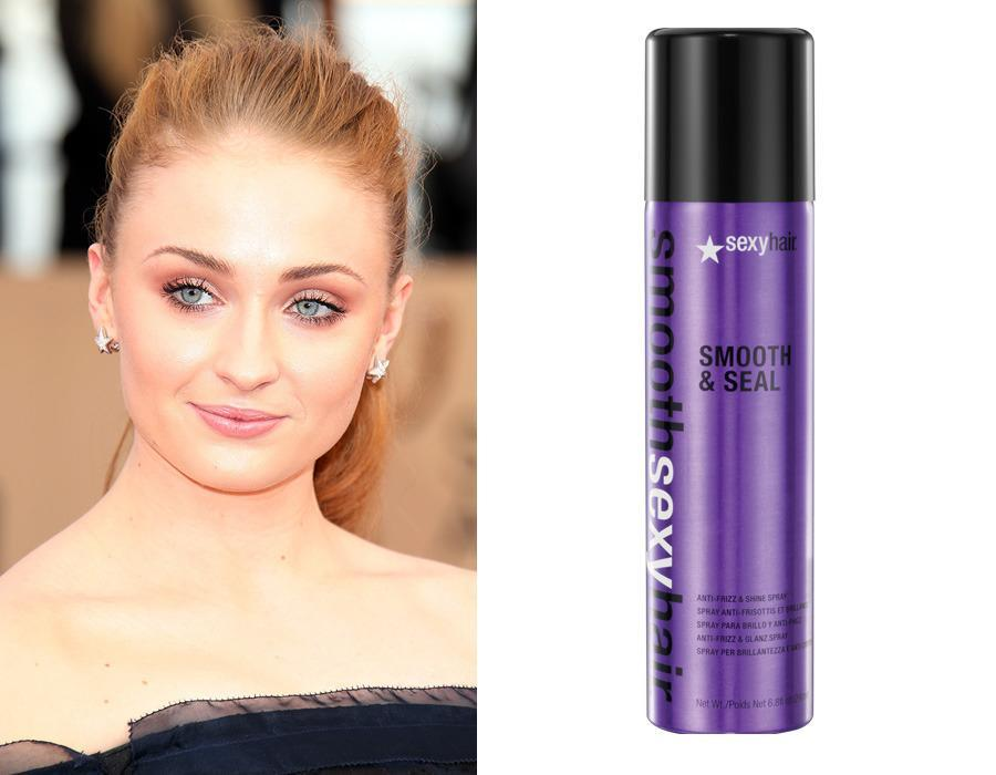 "<p><i>Game of Thrones</i> star Sophie Turner turned to <a href=""https://www.sexyhair.com/products/smooth-seal-anti-frizz-shine-spray.html"" rel=""nofollow noopener"" target=""_blank"" data-ylk=""slk:Smooth Sexy Hair Smooth & Seal Anti-Frizz & Shine Spray"" class=""link rapid-noclick-resp"">Smooth Sexy Hair Smooth & Seal Anti-Frizz & Shine Spray</a> ($18.95) for her red carpet hairstyle at this year's Emmy Awards. The spritz utilizes coconut oil to soften and relax dry and coarse hair by adding manageability and shine.</p><p><i>(Photo: Getty Images/Sexy Hair)</i><br></p>"