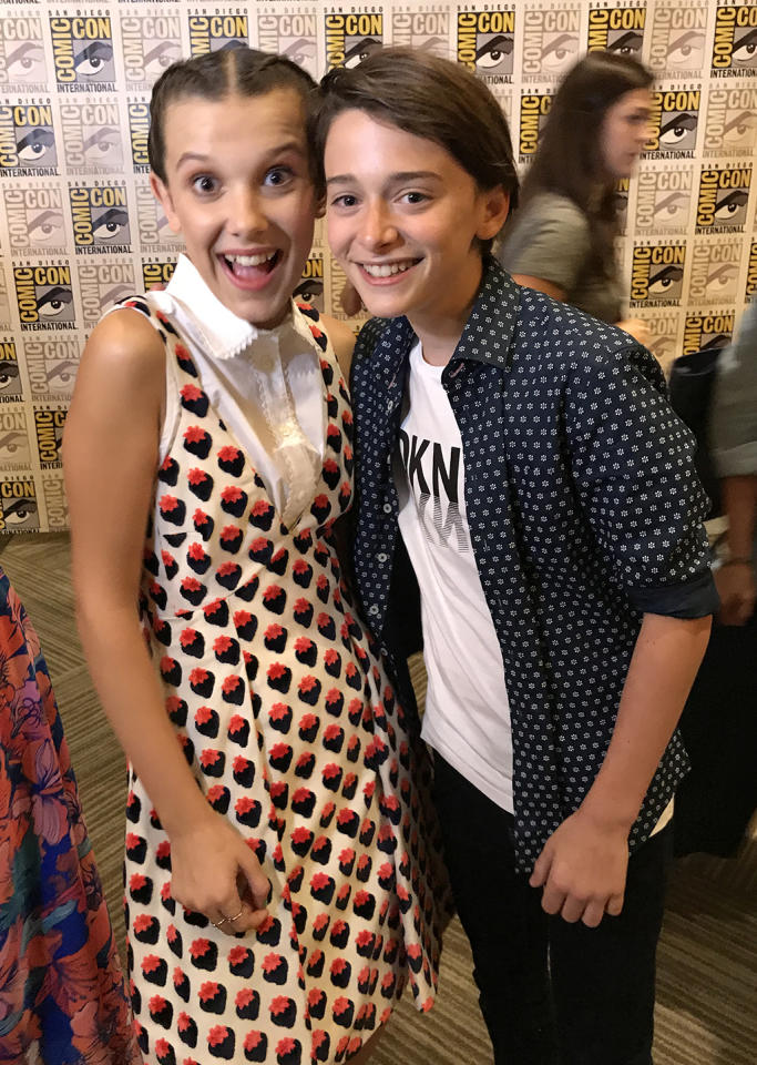<p>They're back! Out favorite <i>Stranger Things</i> kids, Will and Eleven (Noah Schnapp, Millie Bobby Brown), are back in this world — for now. And in the spirit of Comic-Con, they also gave us their best cosplay ideas: Millie tells us she'd cosplay as an Eggo waffle, while Will says he'd dress up as a walk-man.<br /><br />(Photo: Giana Mucci/Yahoo) </p>