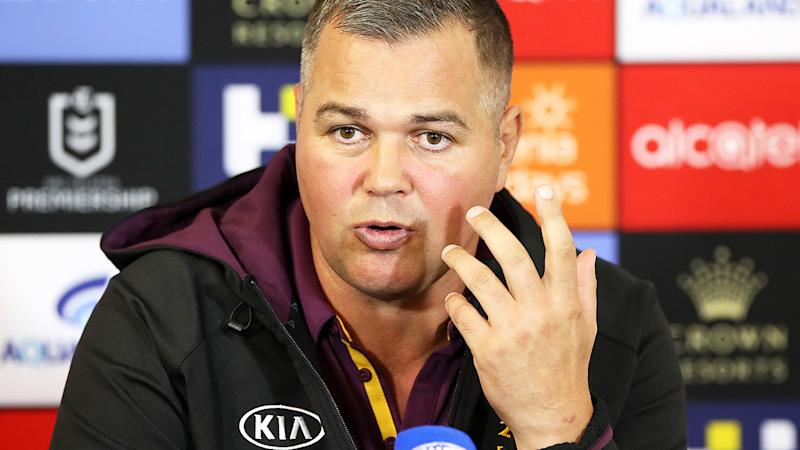Anthony Seibold, pictured here speaking to the media after the Broncos' loss.