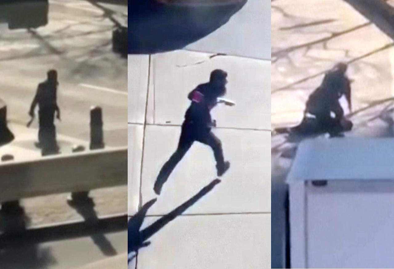 <p>This image made from a video provided by Tawhid Kabir shows the suspect in a deadly attack with a fake gun in each hand, left, running across the street with a fake gun in each hand, center and being apprehended by police, right and on Oct. 31, 2017, in New York. (YouTube/Tawhid Kabir via AP) </p>