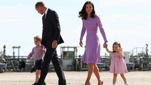 PHOTO: Britain's Prince William and his wife Kate, the Duchess of Cambridge, and their children, Prince George and Princess Charlotte, are pictured before boarding a plane in Hamburg, Germany, July 21, 2017. (Christian Charisius/Pool via AP/FILE)