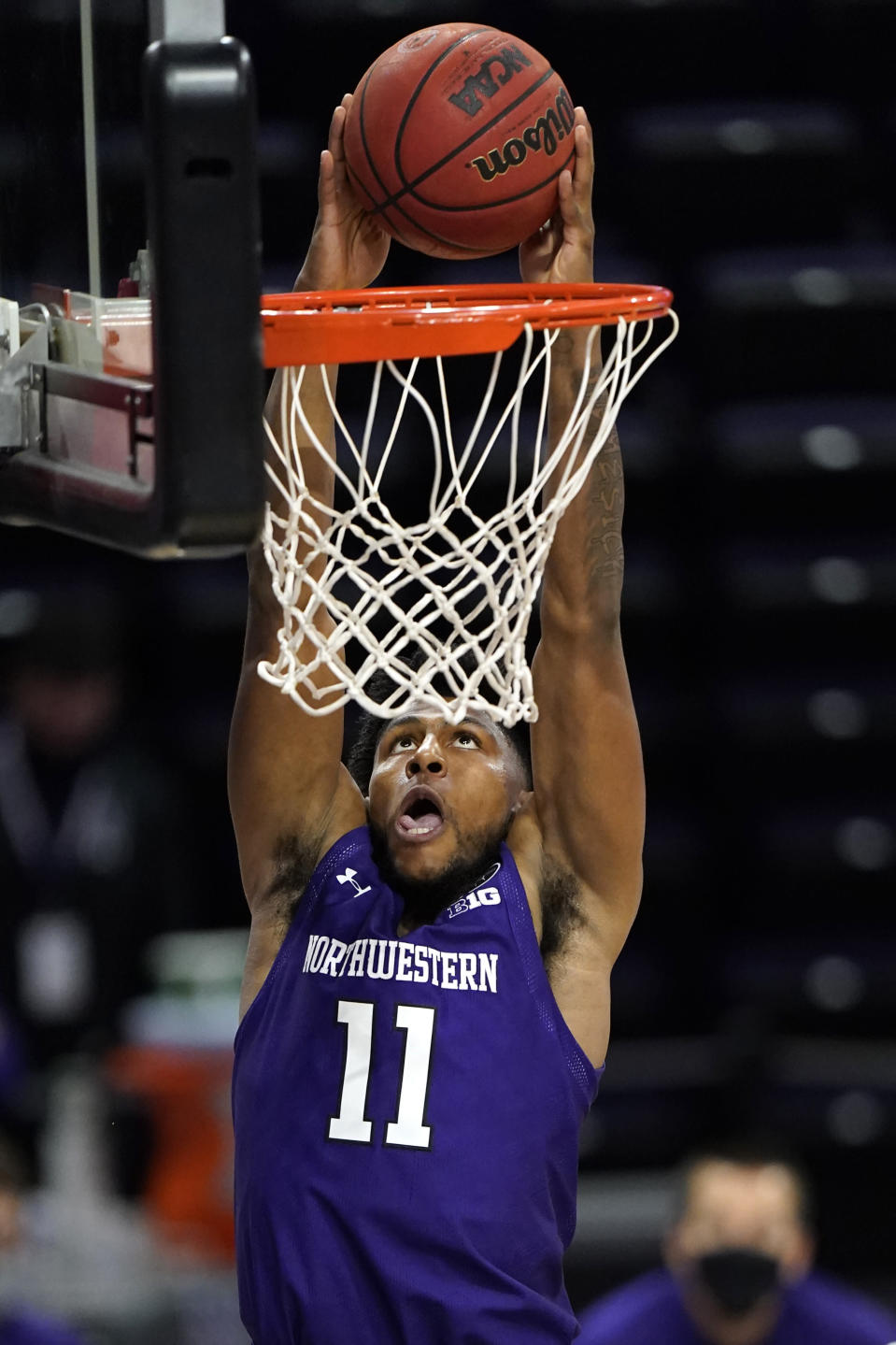 Northwestern guard Anthony Gaines dunks against Chicago State during the second half of an NCAA college basketball game in Evanston, Ill., Saturday, Dec. 5, 2020. (AP Photo/Nam Y. Huh)