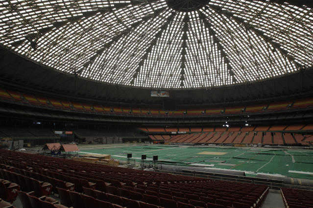 FILE - This May 21, 2012 file photo shows the Astrodome, once home to the Houston Oilers, Astros, stock shows, rodeos, along with playing host to the NBA Finals, professional boxing, tennis extravaganzas and numerous high school football playoff games. An organized effort has been launched to save the Houston Astrodome, two months before a referendum will decide its fate. (AP Photo/Pat Sullivan, File)