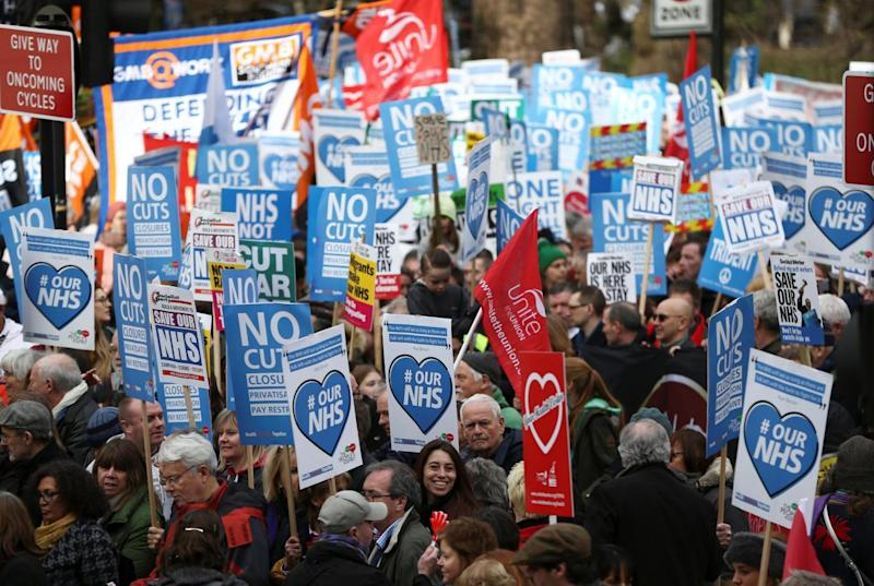 Crowds gather in Tavistock Square ahead of the march (REUTERS)