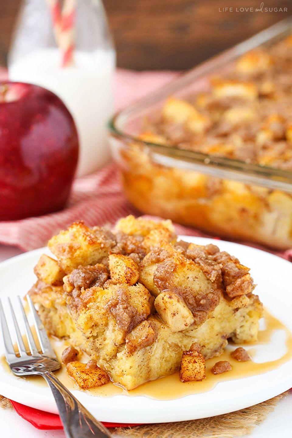 """<p>For a stress-free Mother's Day breakfast in bed, make this gooey casserole ahead of time and just pop it in the oven before serving.</p><p><strong>Get the recipe at <a href=""""https://www.lifeloveandsugar.com/2016/09/26/overnight-cinnamon-apple-baked-french-toast-casserole/"""" rel=""""nofollow noopener"""" target=""""_blank"""" data-ylk=""""slk:Life, Love and Sugar"""" class=""""link rapid-noclick-resp"""">Life, Love and Sugar</a>.</strong></p><p><a class=""""link rapid-noclick-resp"""" href=""""https://www.amazon.com/Pyrex-Basics-Oblong-Baking-Plastic/dp/B01IUKIPYY?tag=syn-yahoo-20&ascsubtag=%5Bartid%7C10050.g.1681%5Bsrc%7Cyahoo-us"""" rel=""""nofollow noopener"""" target=""""_blank"""" data-ylk=""""slk:SHOP BAKING DISHES"""">SHOP BAKING DISHES</a> </p>"""