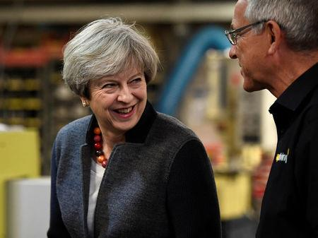 Britain's Prime Minister Theresa May makes a campaign stop at a company in St Yves, Cornwall