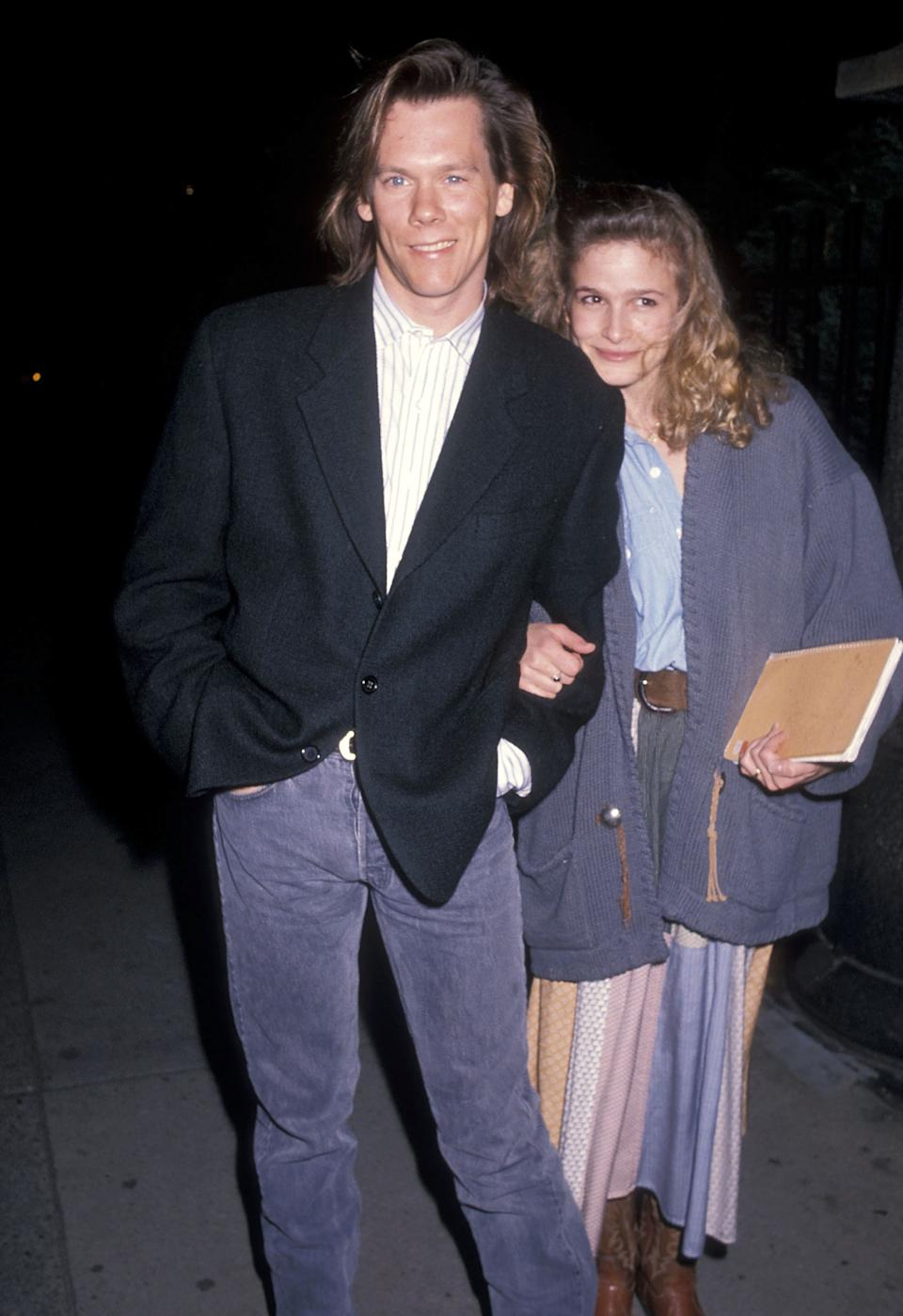 "<h1 class=""title"">Square Dancing and Country-Western Party to Benefi the Second Stage Theatre</h1> <div class=""caption""> Kevin Bacon and Kyra Sedgwick at a benefit in New York in 1990 </div> <cite class=""credit"">Getty Images</cite>"