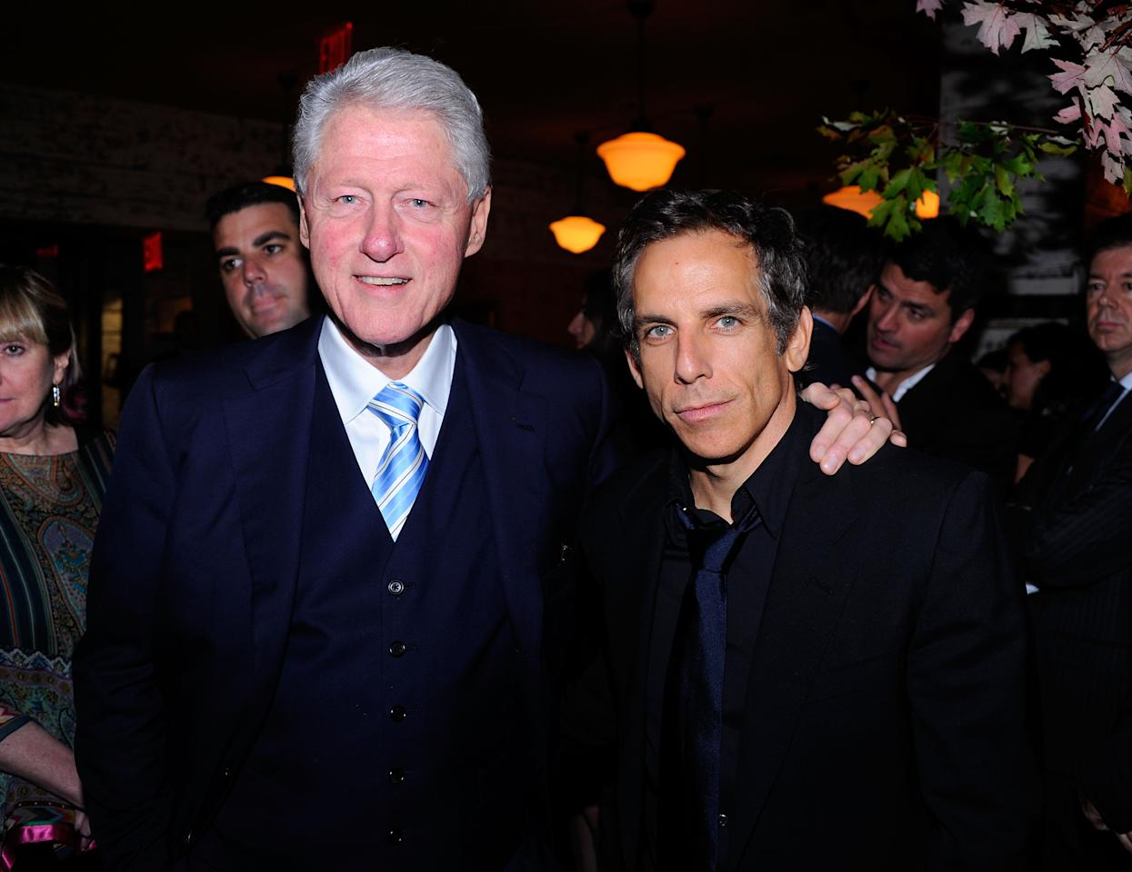 NEW YORK, NY - SEPTEMBER 23:  (EXCLUSIVE COVERAGE) Former President Bill Clinton and Ben Stiller attend the Artists for Haiti dinner to benefit the Stiller Foundation at Almond on September 23, 2011 in New York City.  (Photo by Andrew H. Walker/Getty Images)