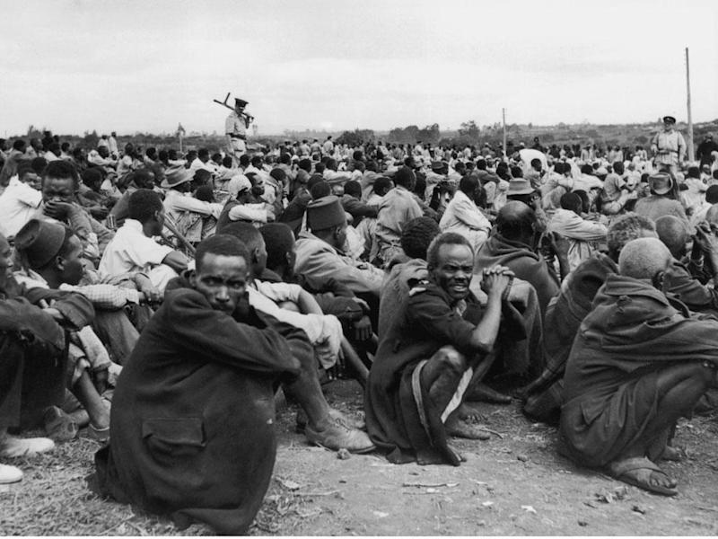 Mau Mau suspects at one of the prison camps in 1953