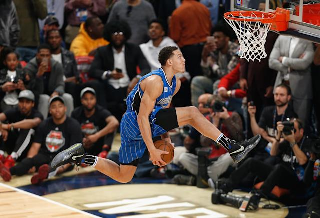 "<a class=""link rapid-noclick-resp"" href=""/nba/players/5295/"" data-ylk=""slk:Aaron Gordon"">Aaron Gordon</a> attempts a dunk at last year's contest in New Orleans. (Getty)"
