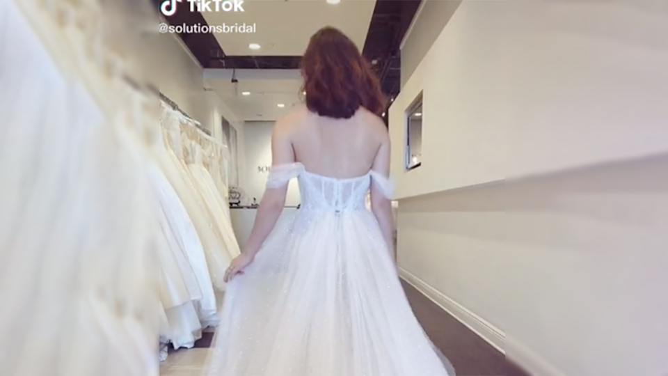 Image of Bridal Solutions TikTok mullet 'diaper' gown