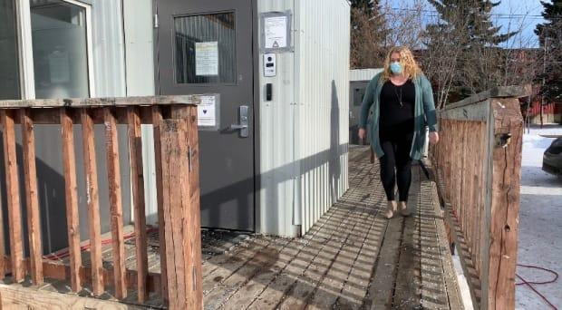 Sara Fleck, the clinical manager for Turning Point, outside the overdose prevention site.  (Heather Marcoux/CBC News - image credit)