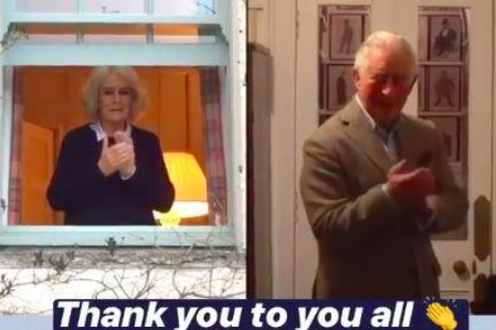 'Thank you to you all': Charles and Camilla clap for the NHS from self-isolation: Instagram