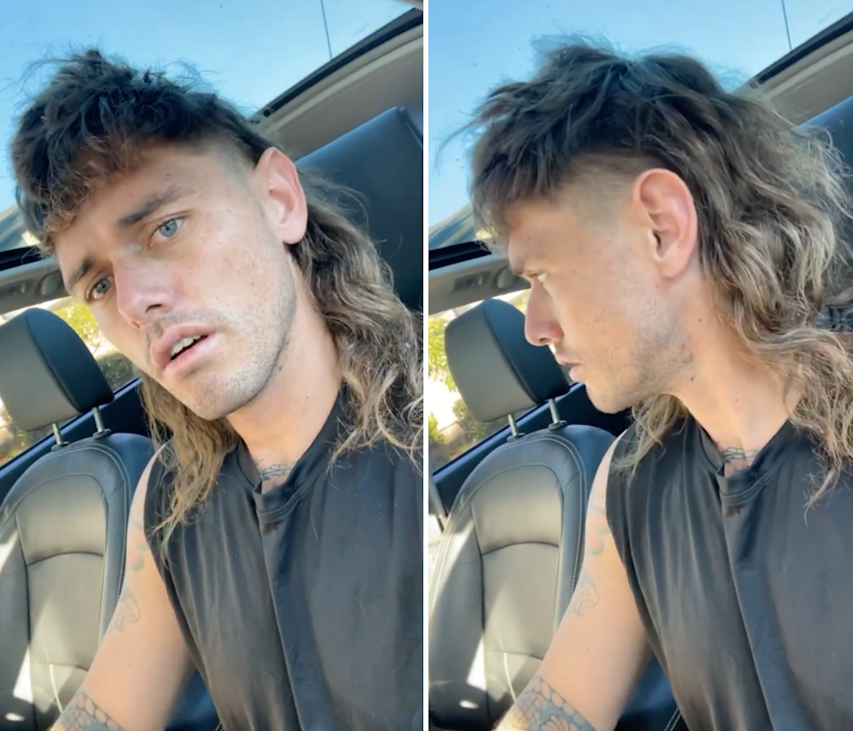 Timm showing off his mullet.