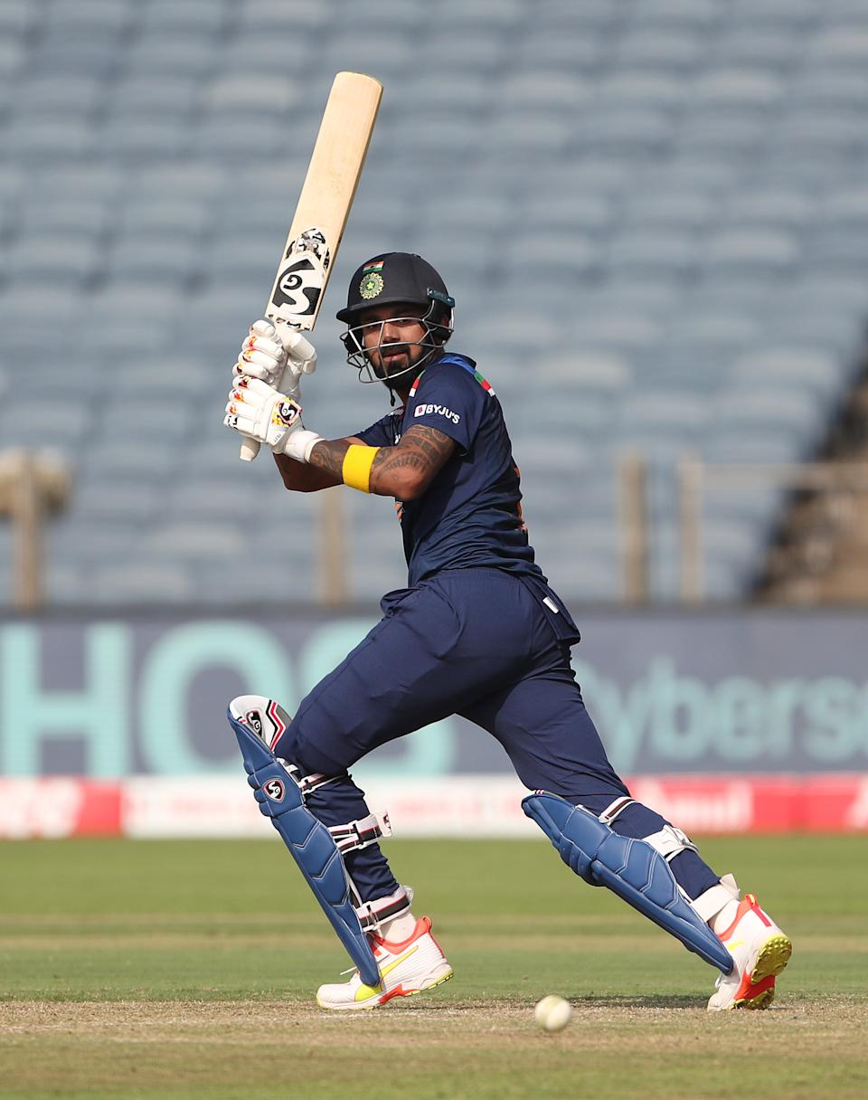 India batsman KL Rahul hits out during the 2nd One Day International between India and England at MCA Stadium on March 26, 2021 in Pune, India. (Photo by Surjeet Yadav/Getty Images)