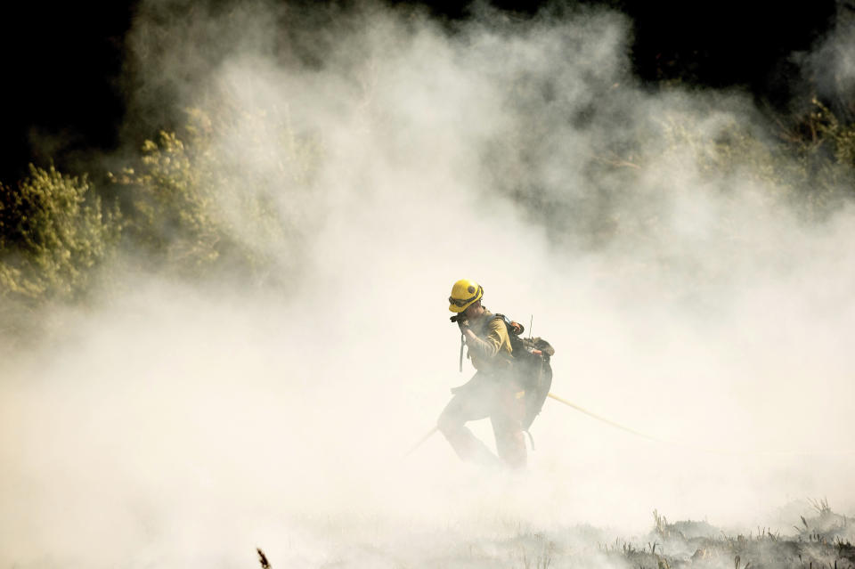 A firefighters battling the Windy Fire extinguishes a spot fire near the Trail of 100 Giants grove of Sequoia National Forest, Calif., on Sunday, Sept. 19, 2021. (AP Photo/Noah Berger)